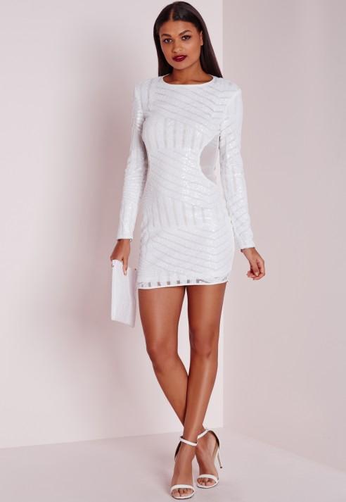 bodycon dress long sleeve white « Bella Forte Glass Studio