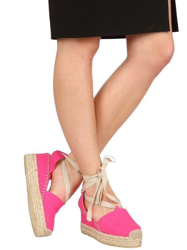 Lyst Ralph Lauren Canvas Espadrille Wedges In Pink