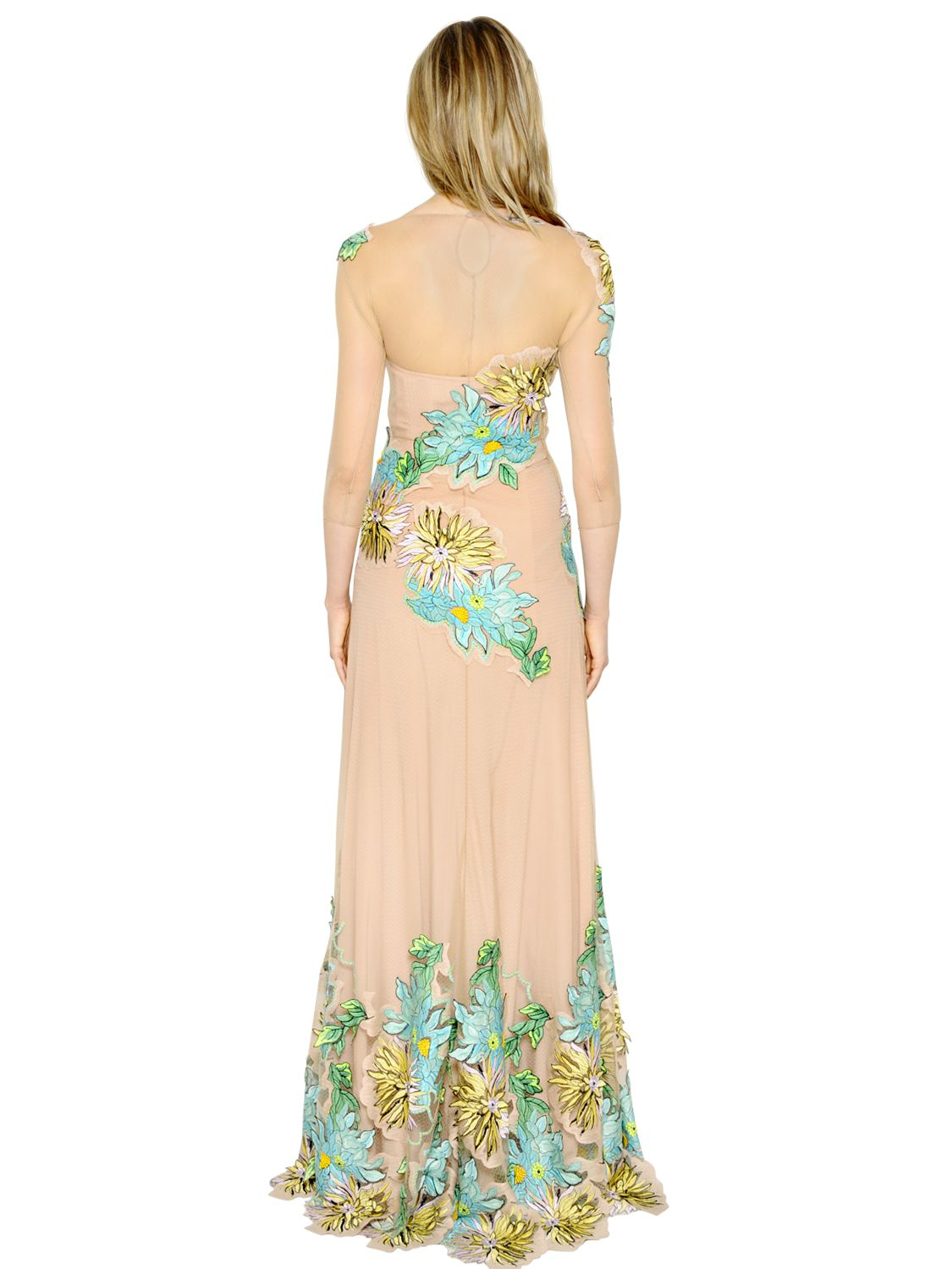 Lyst blumarine floral embroidered tulle dress in pink