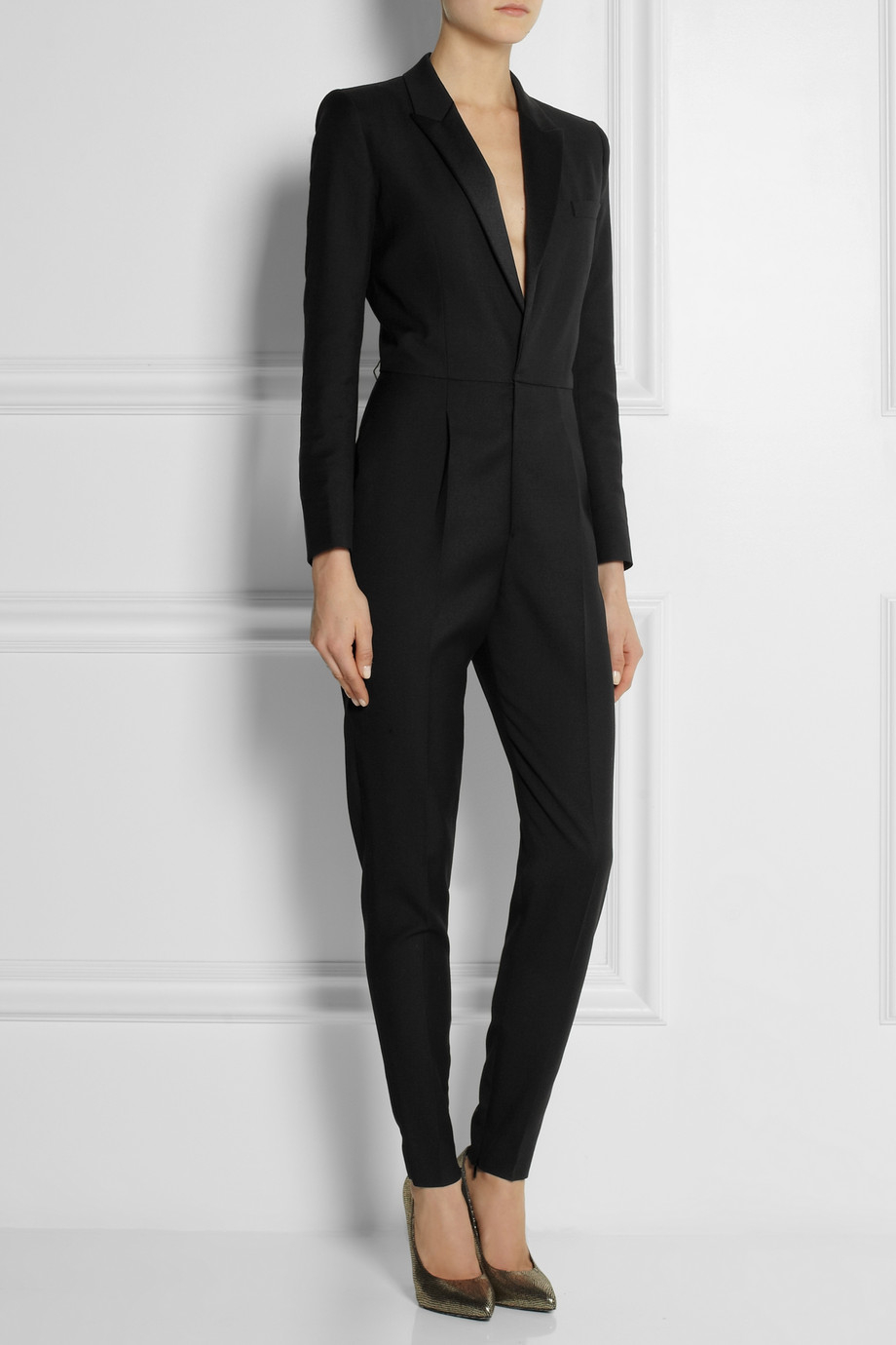 Lyst Saint Laurent Wool Gabardine Tuxedo Jumpsuit In Black