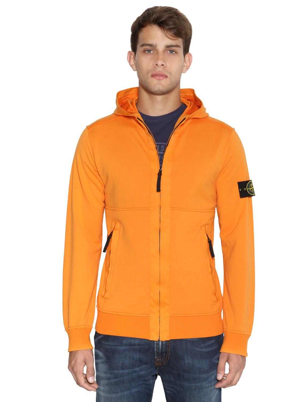 Stone Island Garment Dyed Light Fleece Zip Sweatshirt In