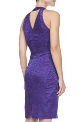 Zac Posen Jacquard Halter Vneck Cocktail Dress Violet - Lyst