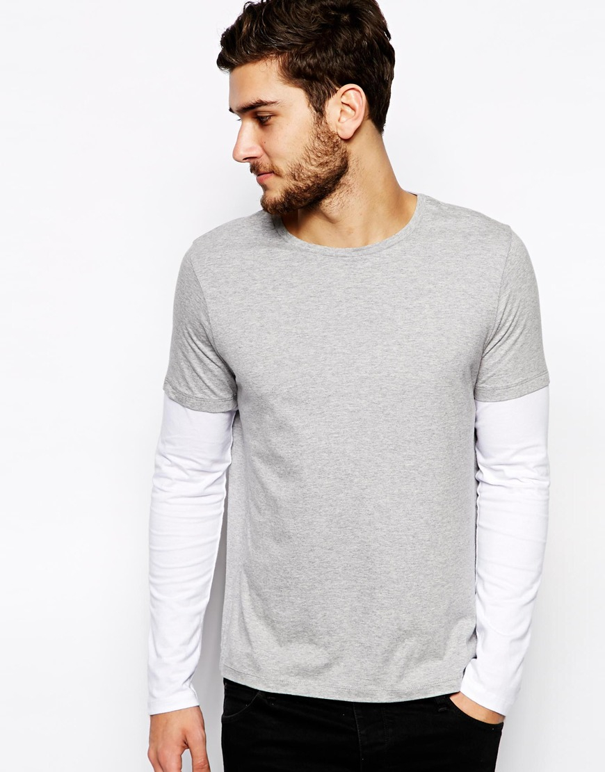 asos long sleeve t shirt with double layer in gray for men