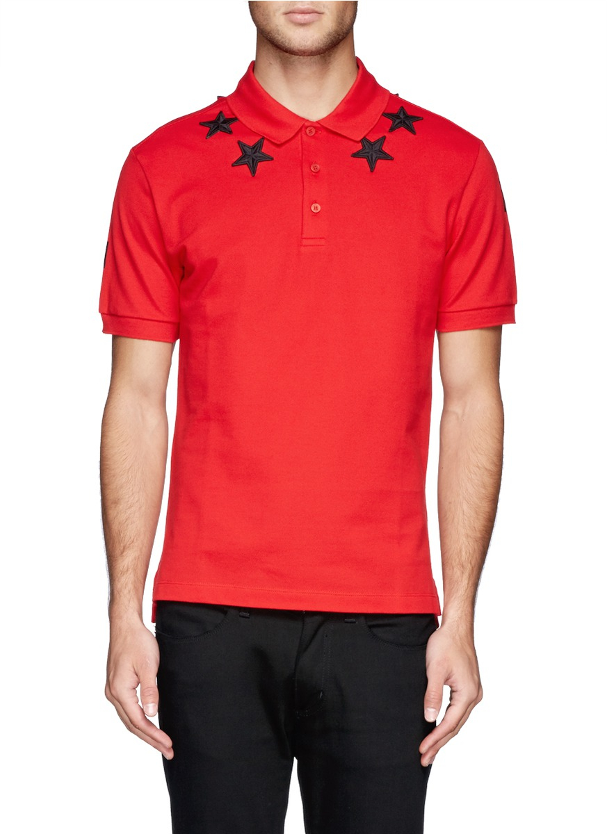 Lyst Givenchy Star Embroidery Polo Shirt In Red For Men