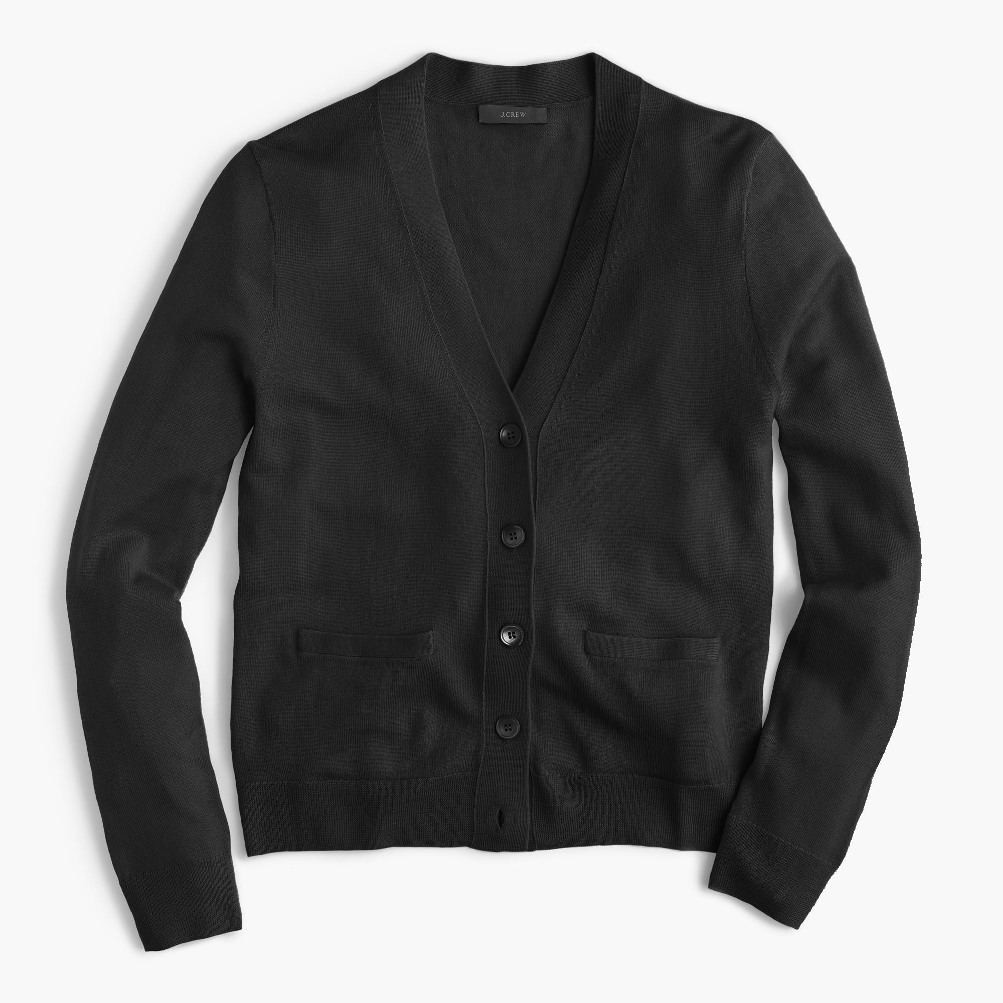 J.crew V-neck Cardigan Sweater In Merino Wool in Black | Lyst