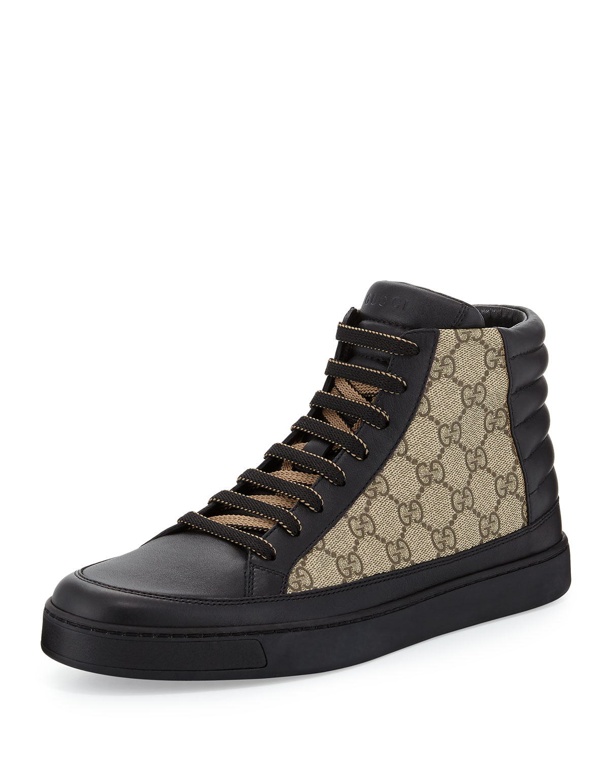 gucci common leather high top sneaker in black lyst. Black Bedroom Furniture Sets. Home Design Ideas