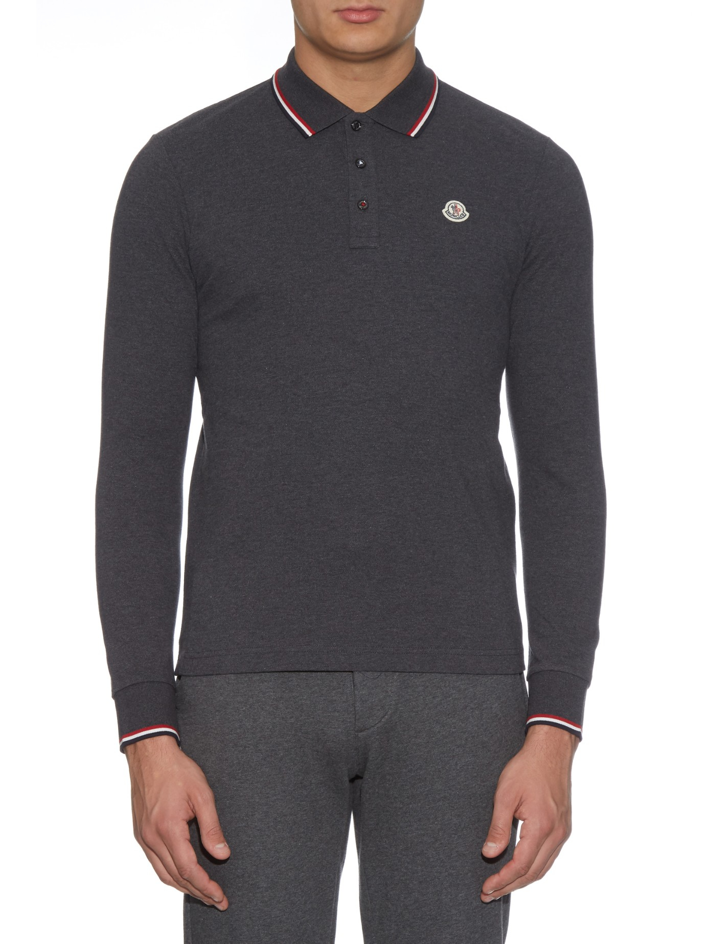 black long sleeve moncler polo