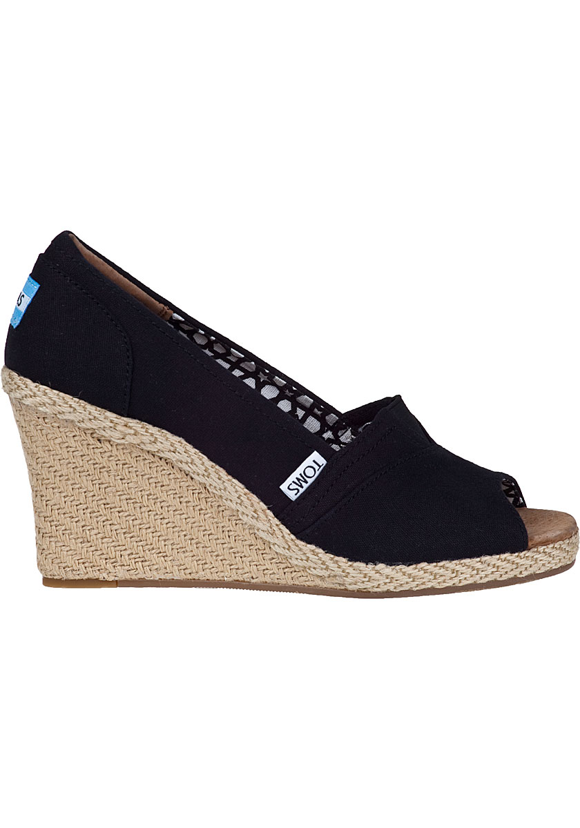 Lyst Toms Calypso Wedge Pump Black Fabric In Black
