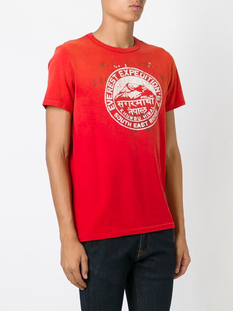 Lyst polo ralph lauren print t shirt in red for men for Polo t shirt printing