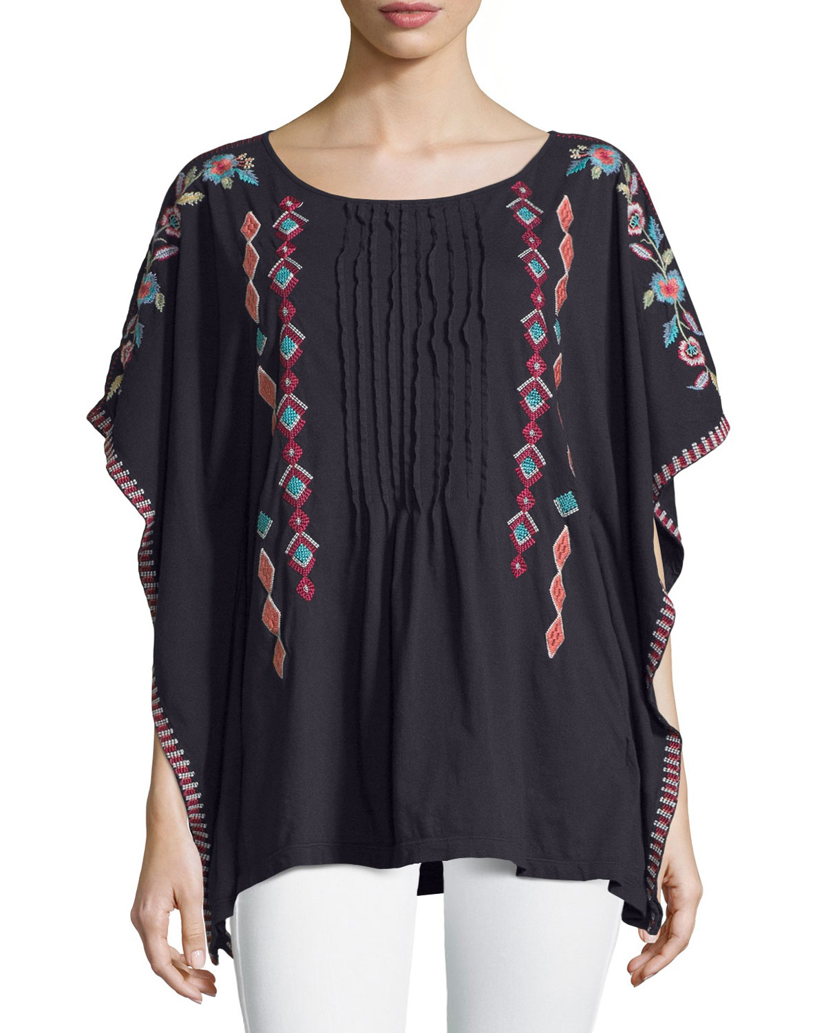Lyst - Johnny Was Embroidered Pintuck Poncho Top in Black