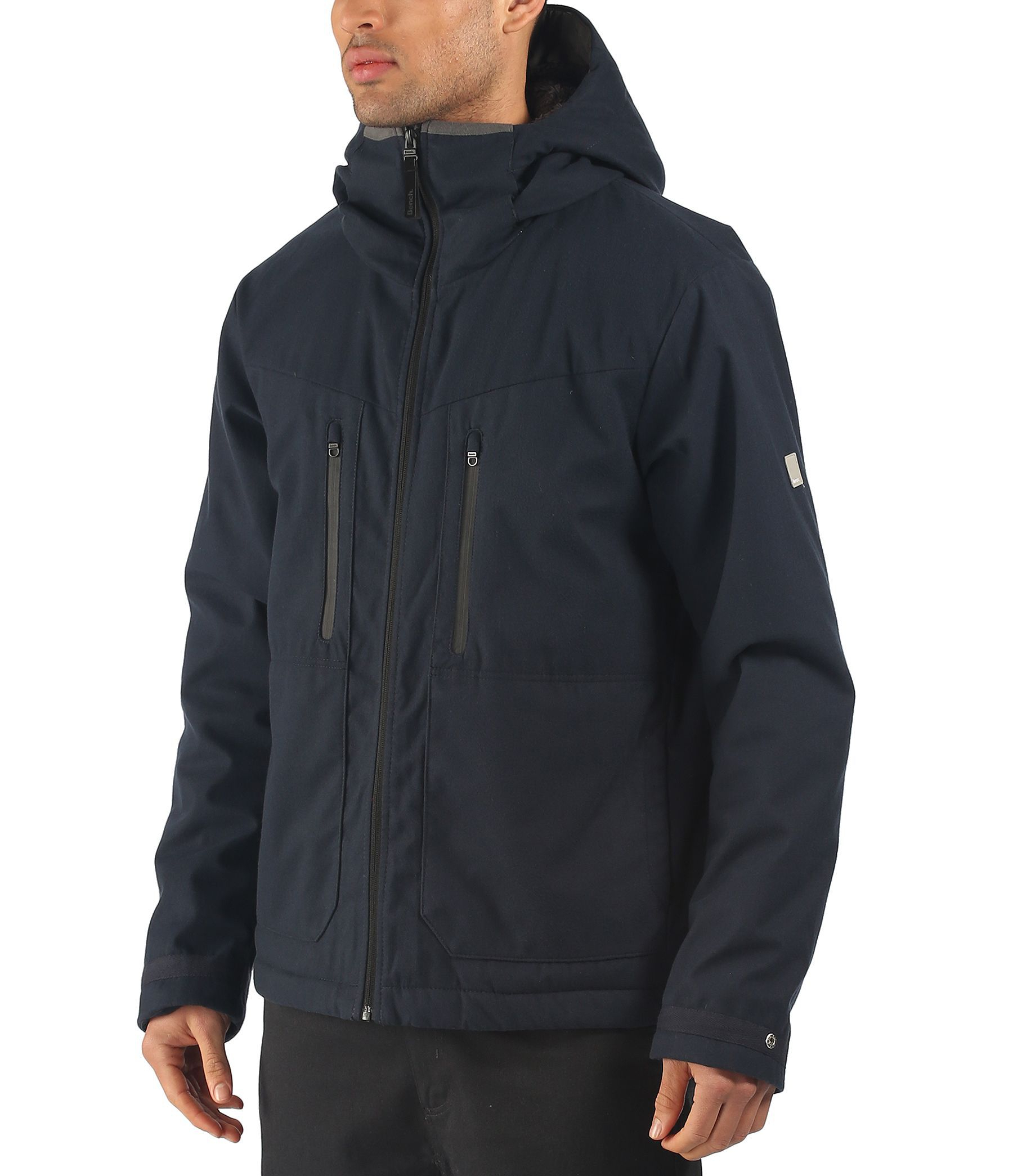 Bench stroke zip thru hooded jacket in blue for men navy lyst Bench jacket
