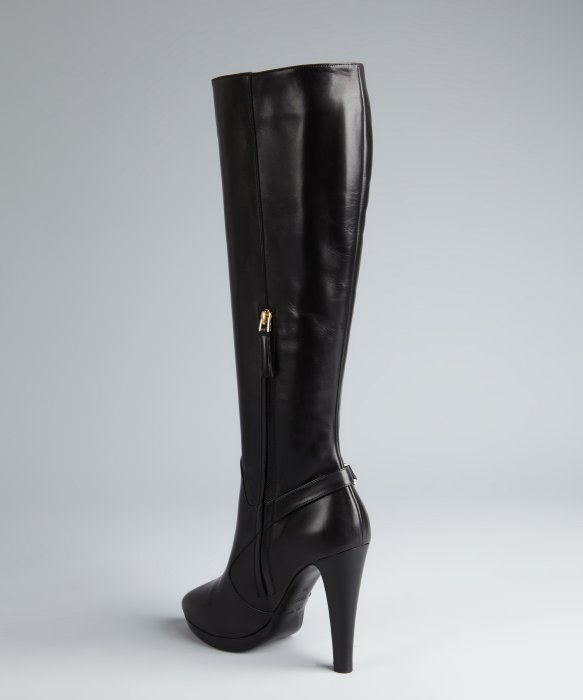 Giorgio armani Black Leather Side Zip Detail Tall Boots in Black ...