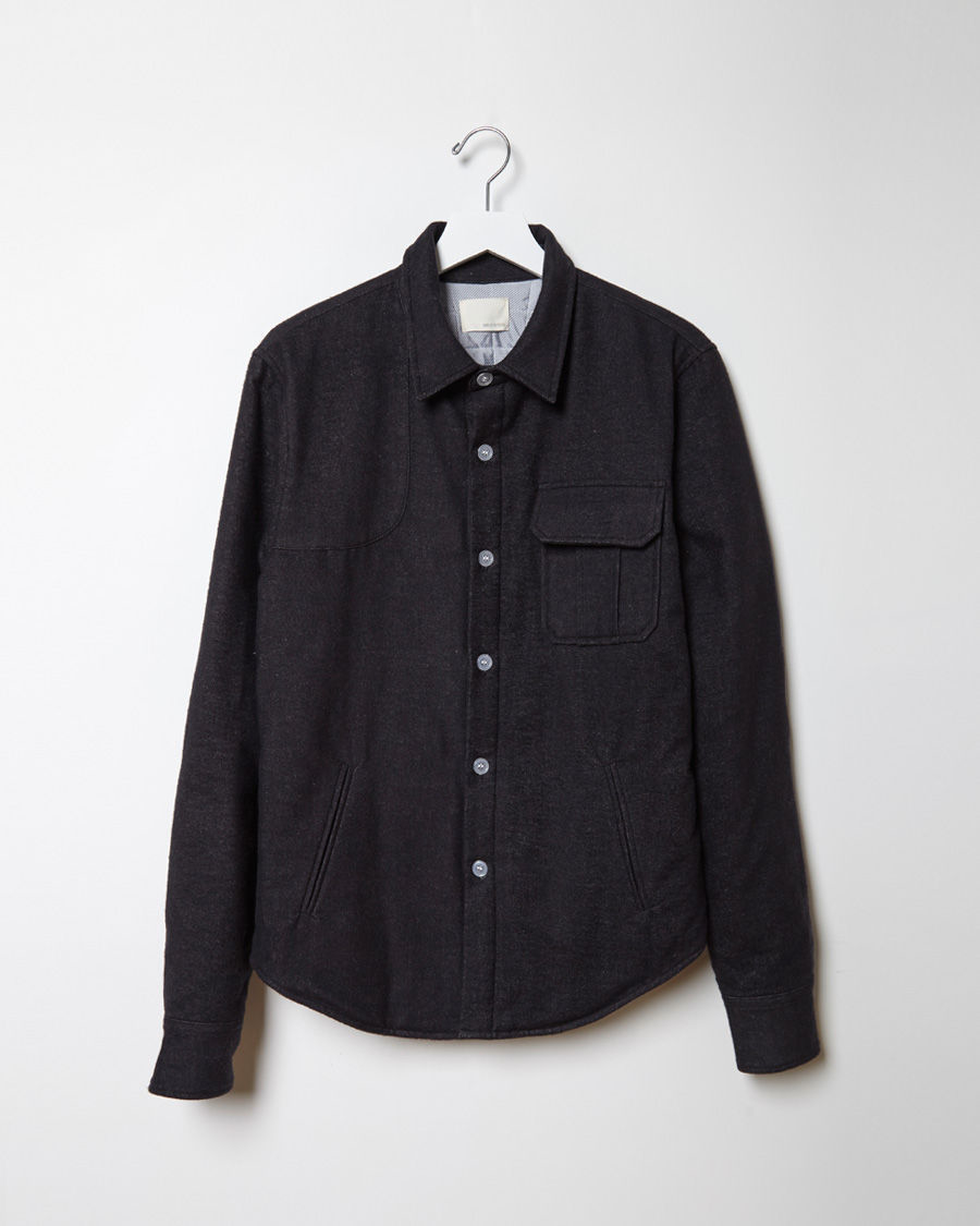 Band of outsiders Quilted Shirt Jacket in Black | Lyst