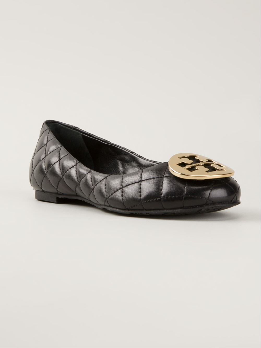 tory burch 39 reva 39 quilted ballerinas in black lyst. Black Bedroom Furniture Sets. Home Design Ideas