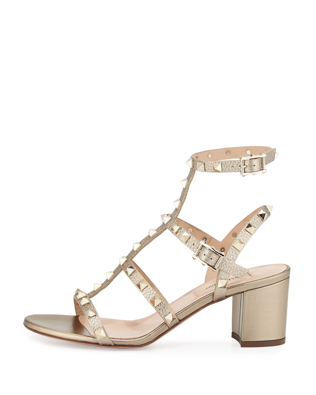 e06c36cb366 Lyst - Valentino Rockstud Leather Sandals in Natural