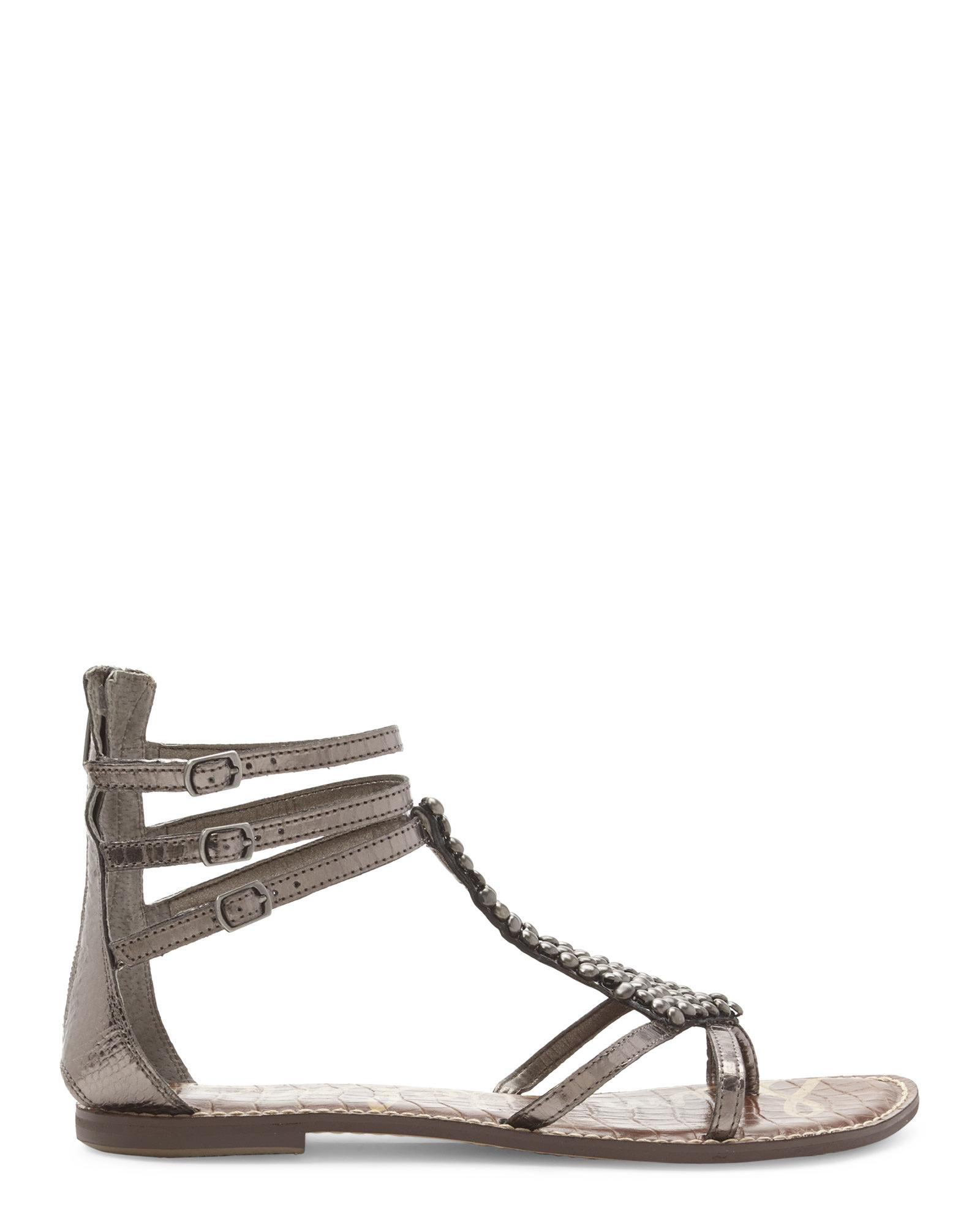 b9f7e0d5b82d Lyst - Sam Edelman Pewter Ginger Embellished Gladiator Sandals in ...