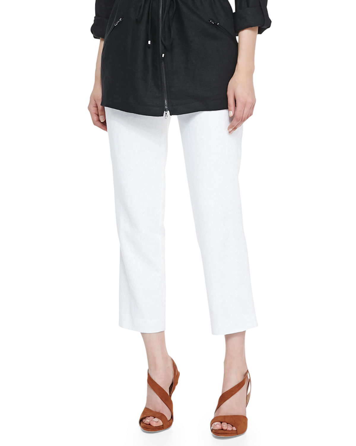 Magaschoni Lined Linen Ankle Pants in White | Lyst