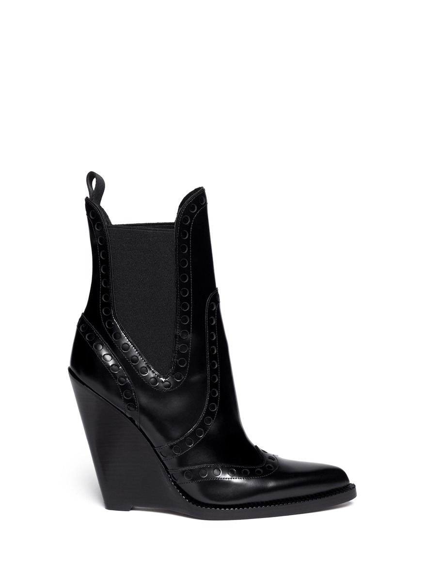 Alexander Wang Nadja Wingtip Leather Chelsea Wedge Boots