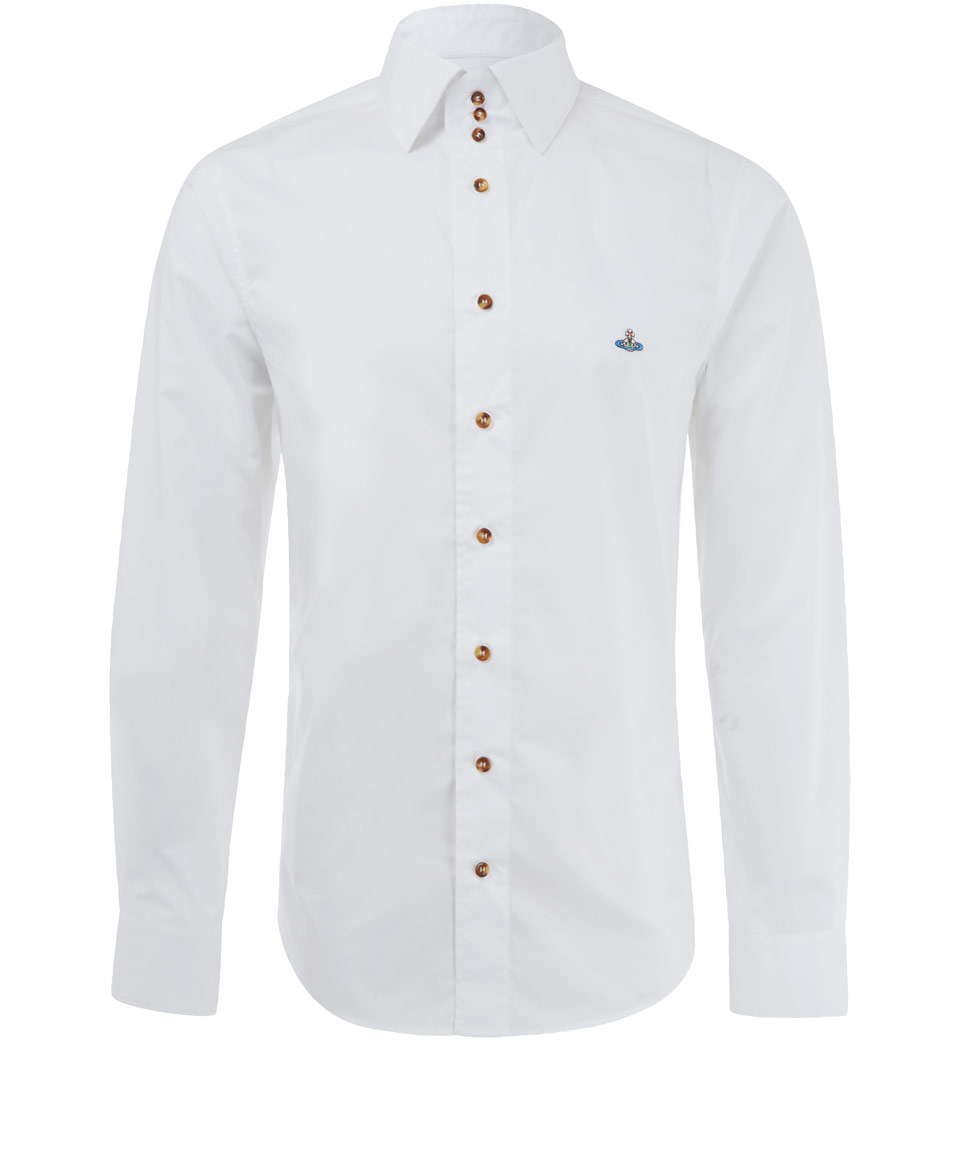 Vivienne westwood man white orb emblem three button collar for Three button collar shirts