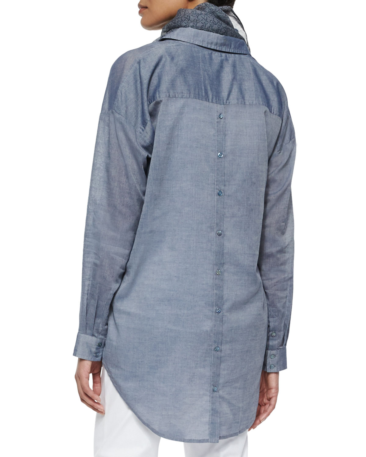 Eileen fisher long sleeve chambray open back shirt in blue for Long sleeve open shirt