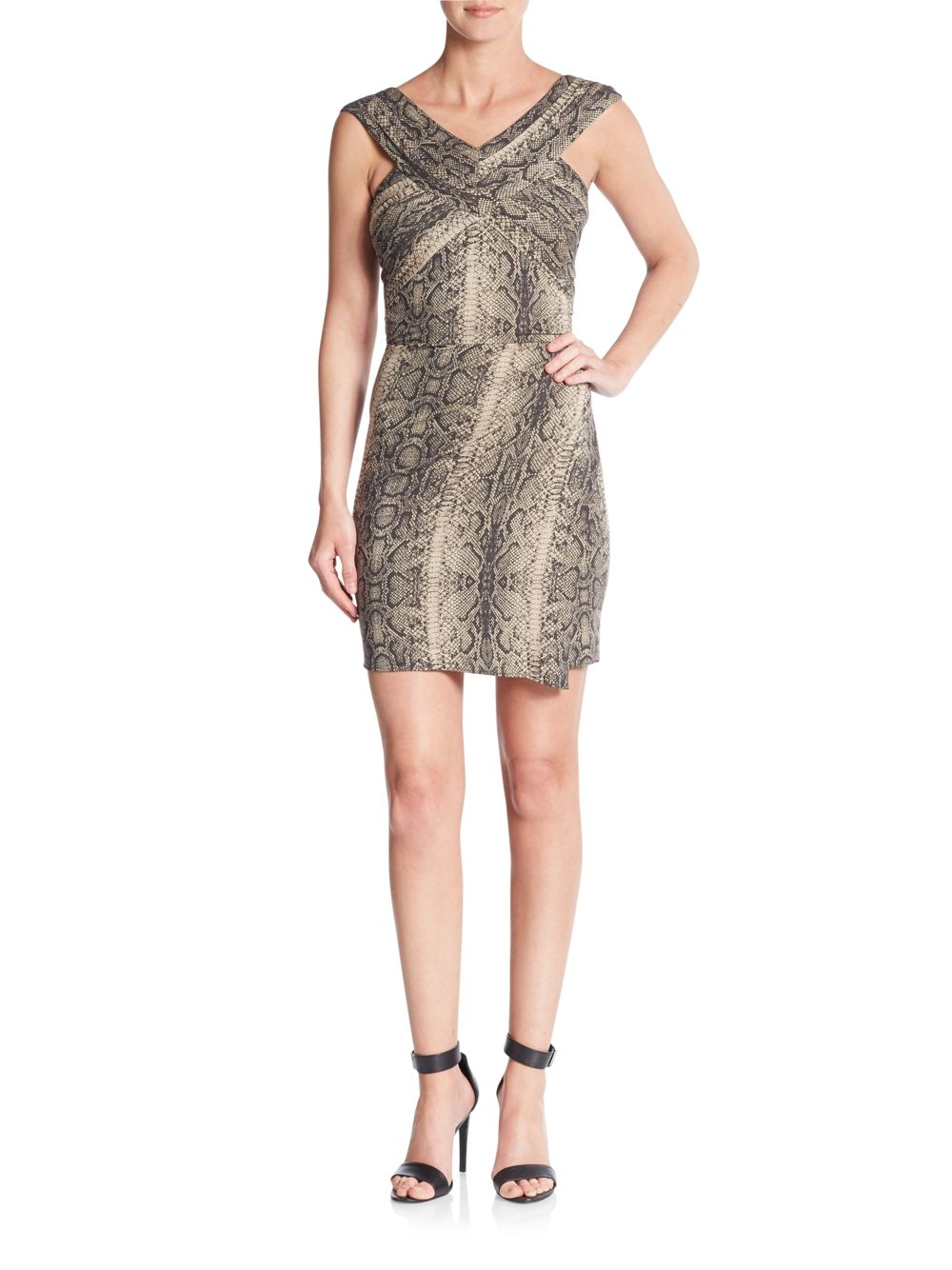 6ba7843900 Lyst - The Kooples Python-print Bodycon Dress in Gray