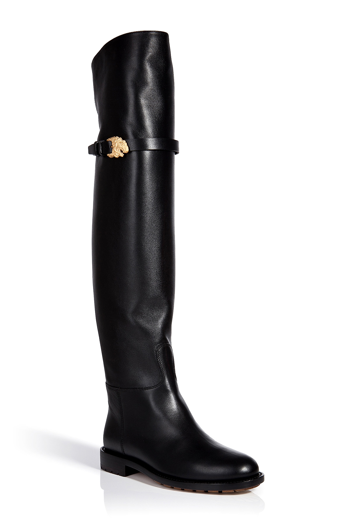 Lyst Valentino Leather Over The Knee Animalia Boots In Black
