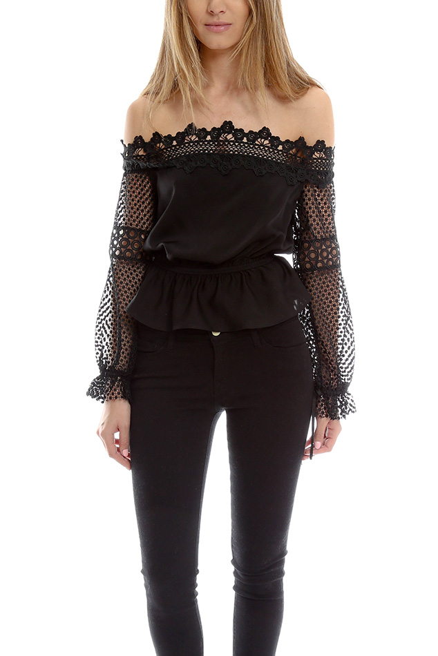 self portrait lace off shoulder blouse in black lyst. Black Bedroom Furniture Sets. Home Design Ideas
