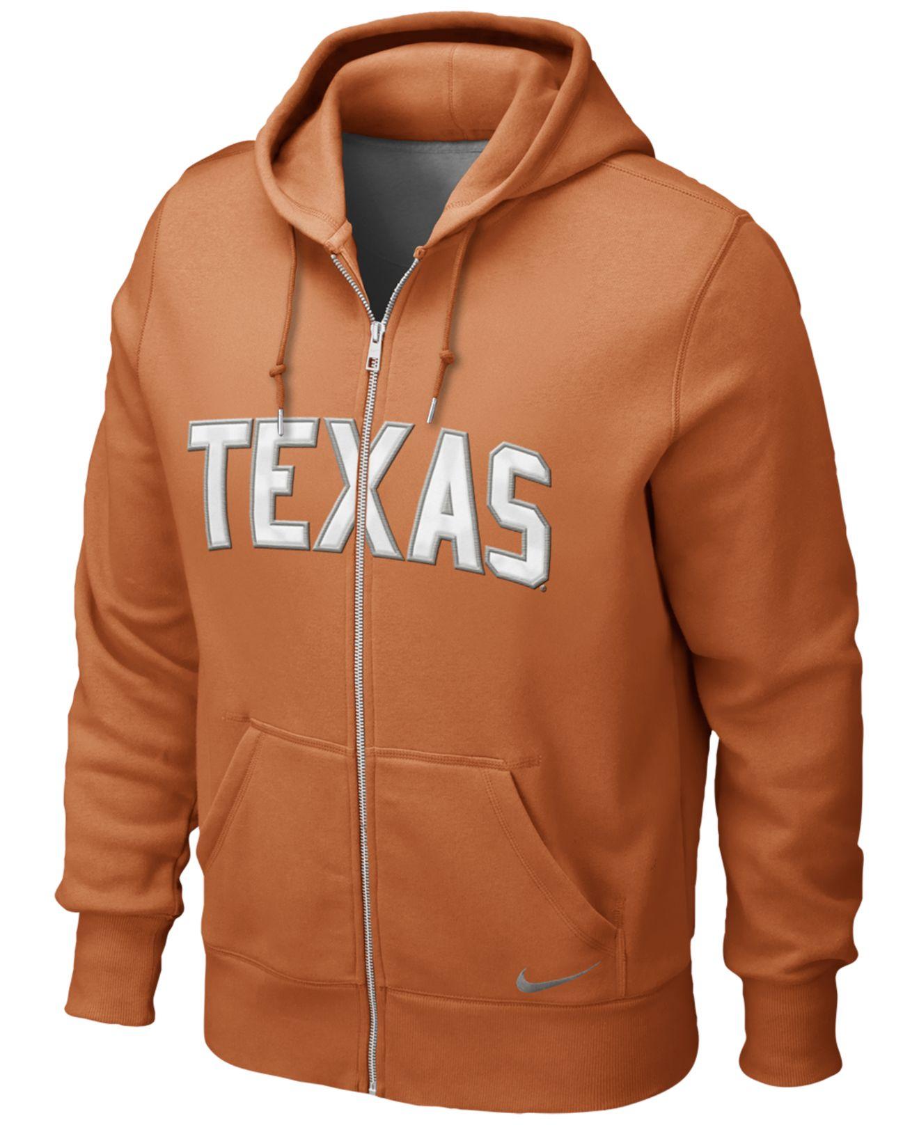 Nike Men'S Texas Longhorns Full-Zip Hoodie Sweatshirt in Orange ...