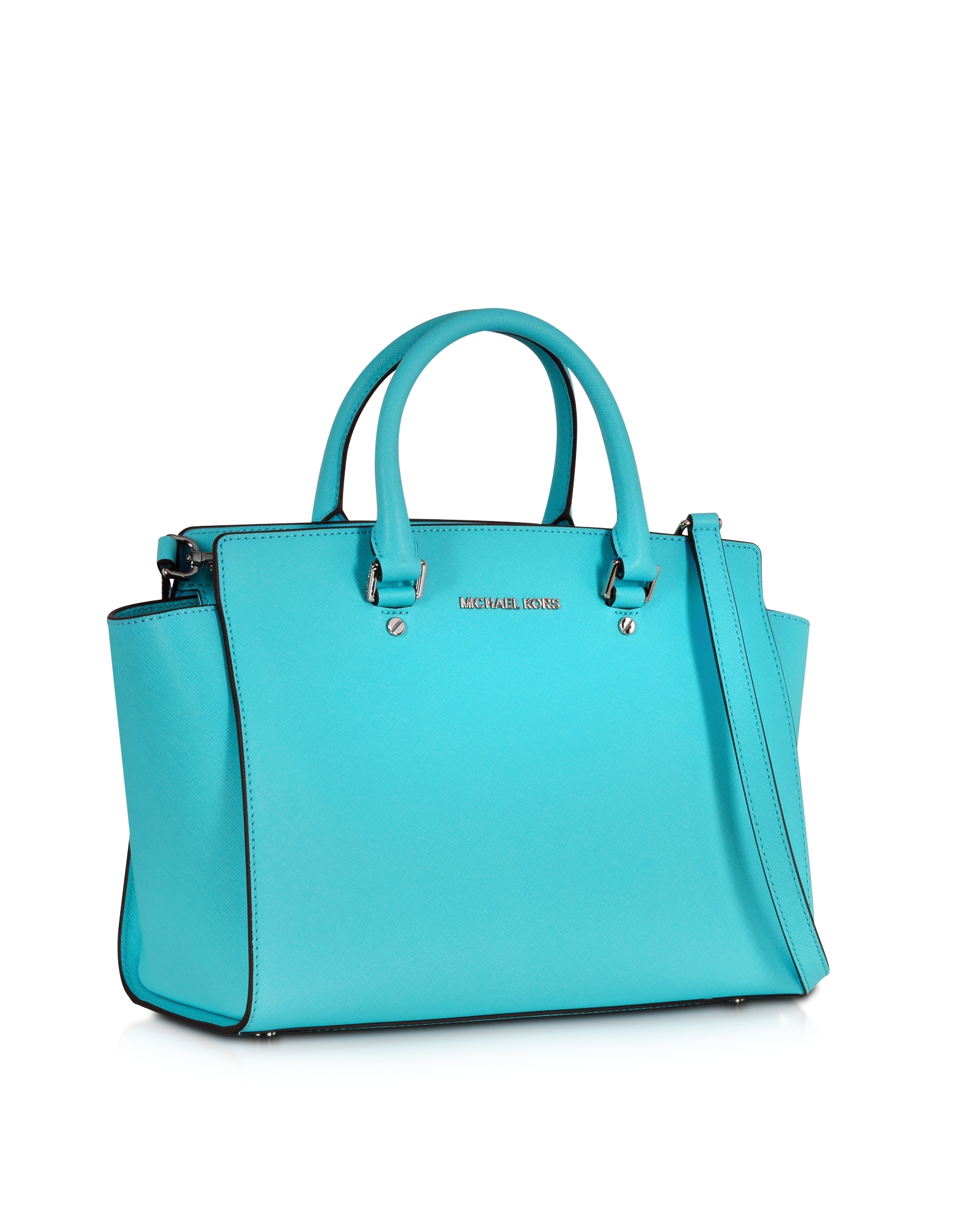 24351ec4e4b6f9 Michael Kors Selma Aquamarine Saffiano Leather Large Top-Zip Satchel ...