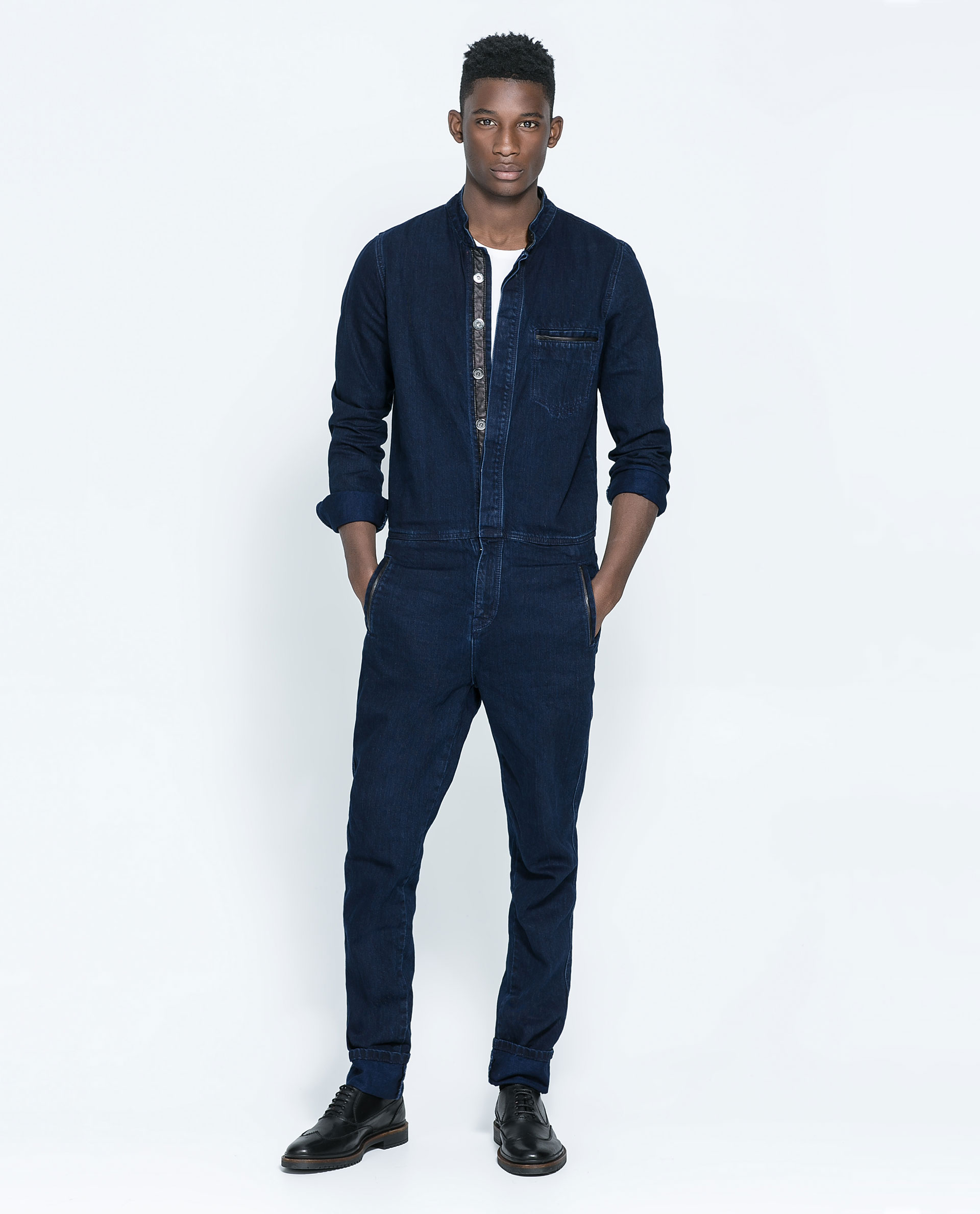 Zara Denim Jumpsuit With Faux Leather In Blue For Men (Dark Blue) | Lyst