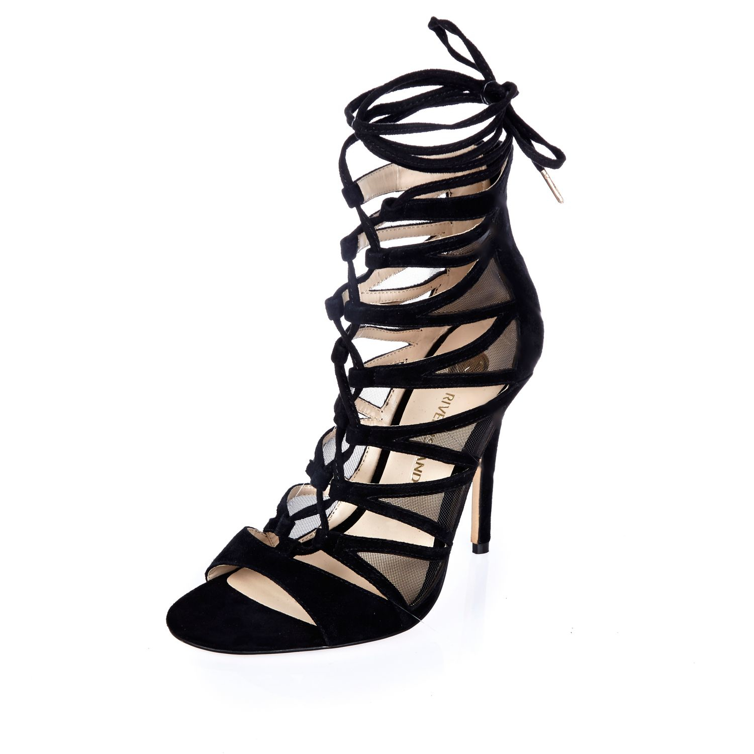 River island Black Suede Lace-up Caged Heels in Black | Lyst