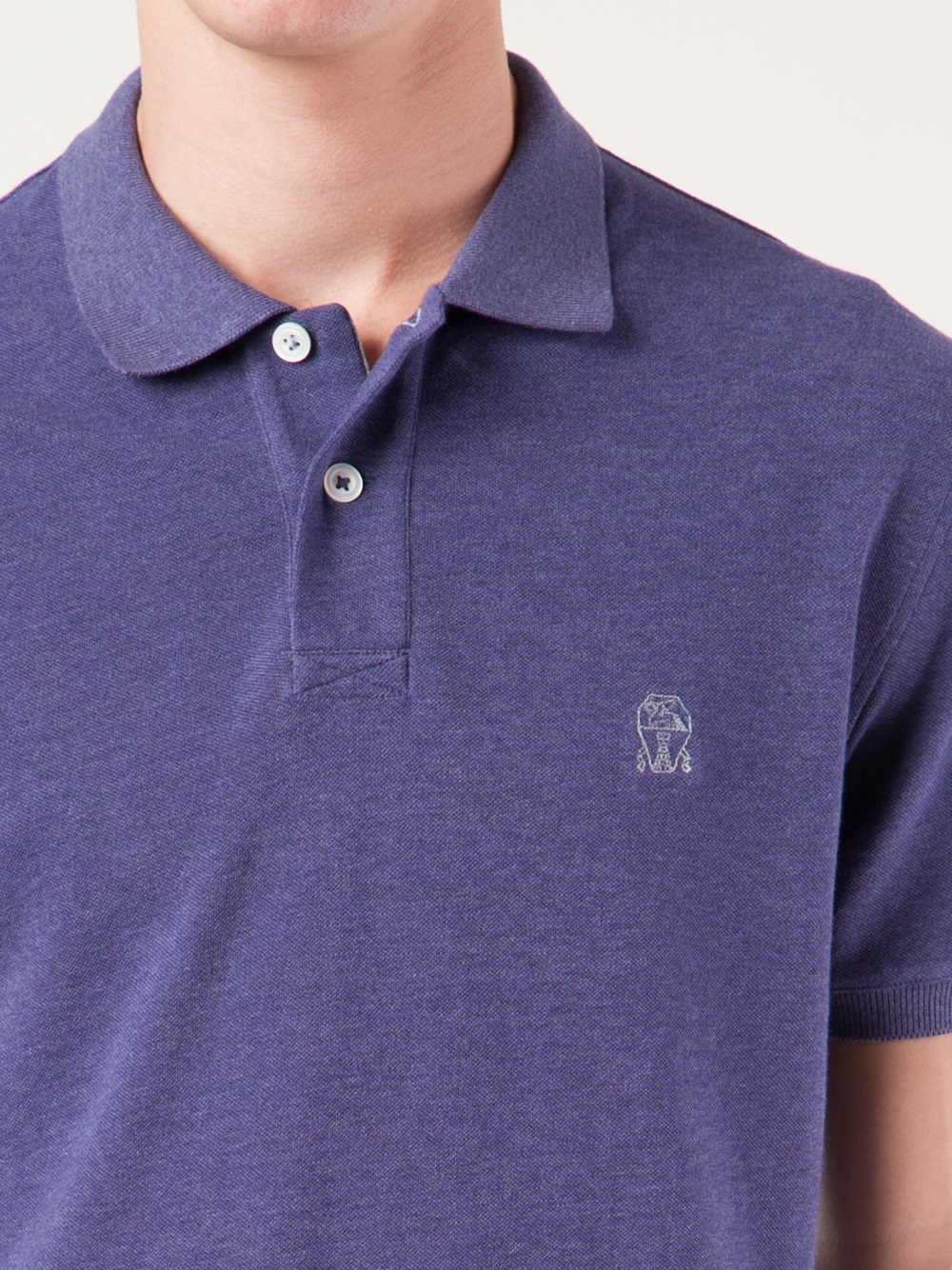 Brunello cucinelli brand embroidered polo shirt in blue for Expensive polo shirt brands