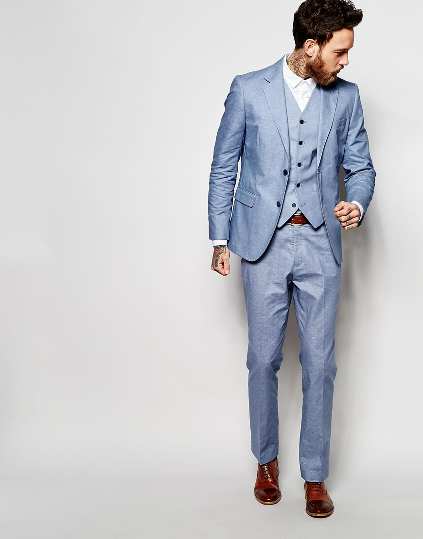 Féraud Gianni Premium 55% Linen Suit Trousers In Pale Blue in Blue ...