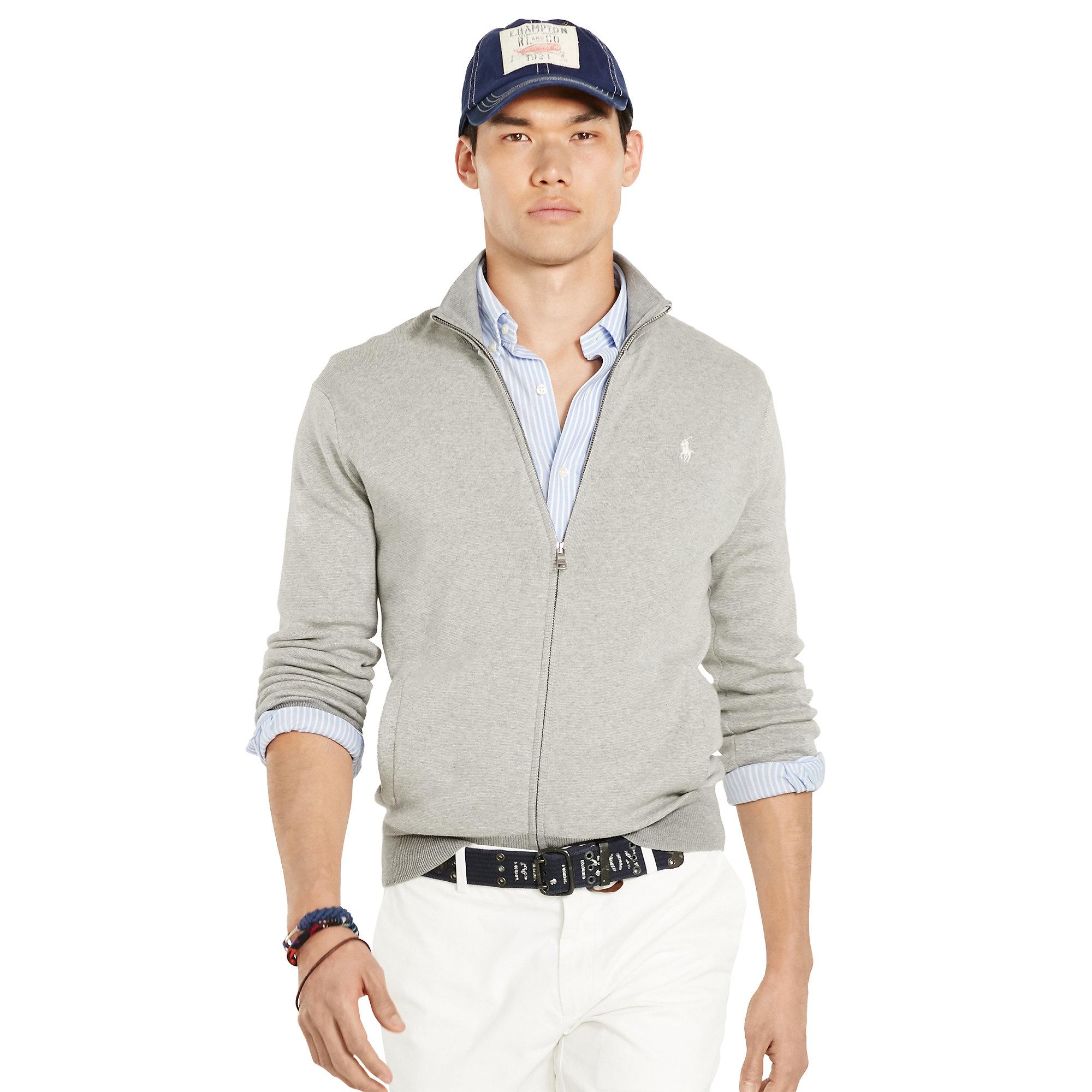 bed431c7648 Polo Ralph Lauren Pima Cotton Full-zip Sweater in Orange for Men - Lyst