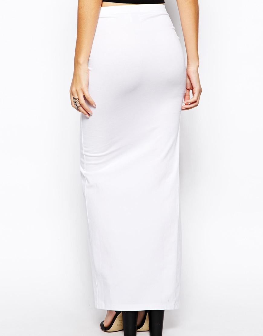Asos Exclusive Maxi Skirt With Thigh Split in White | Lyst