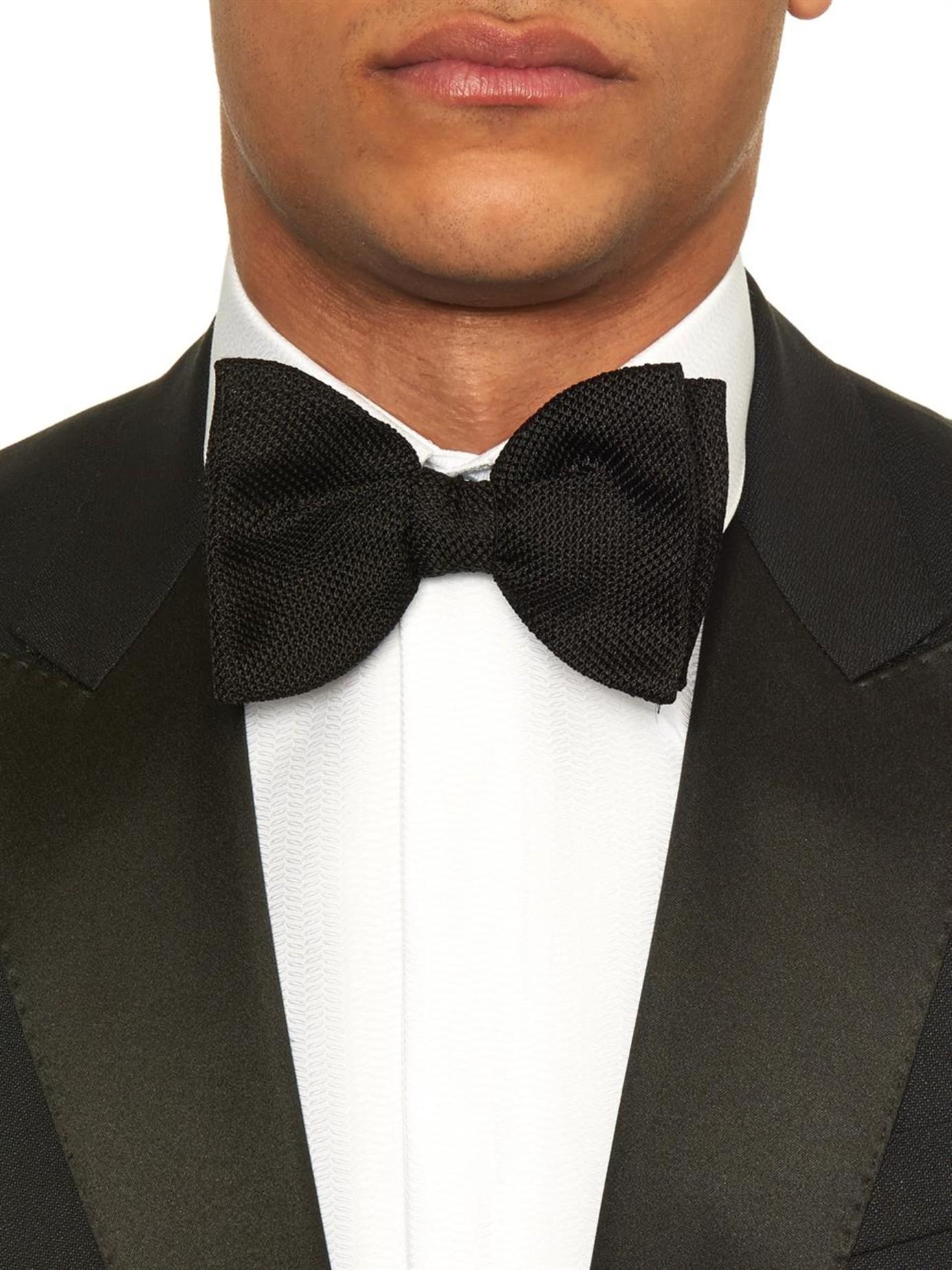 e34cbf326928 Lanvin Knitted Silk Bow Tie in Black for Men - Lyst