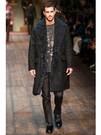 Dolce & gabbana Wool Tricot & Shearling Coat in Black for Men | Lyst