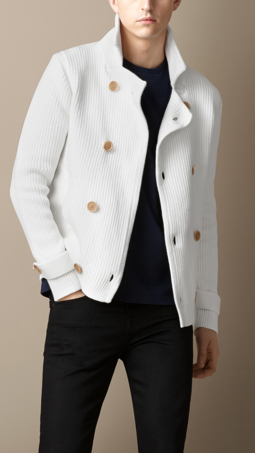 Burberry Textured Knit Cotton Pea Coat in White for Men | Lyst