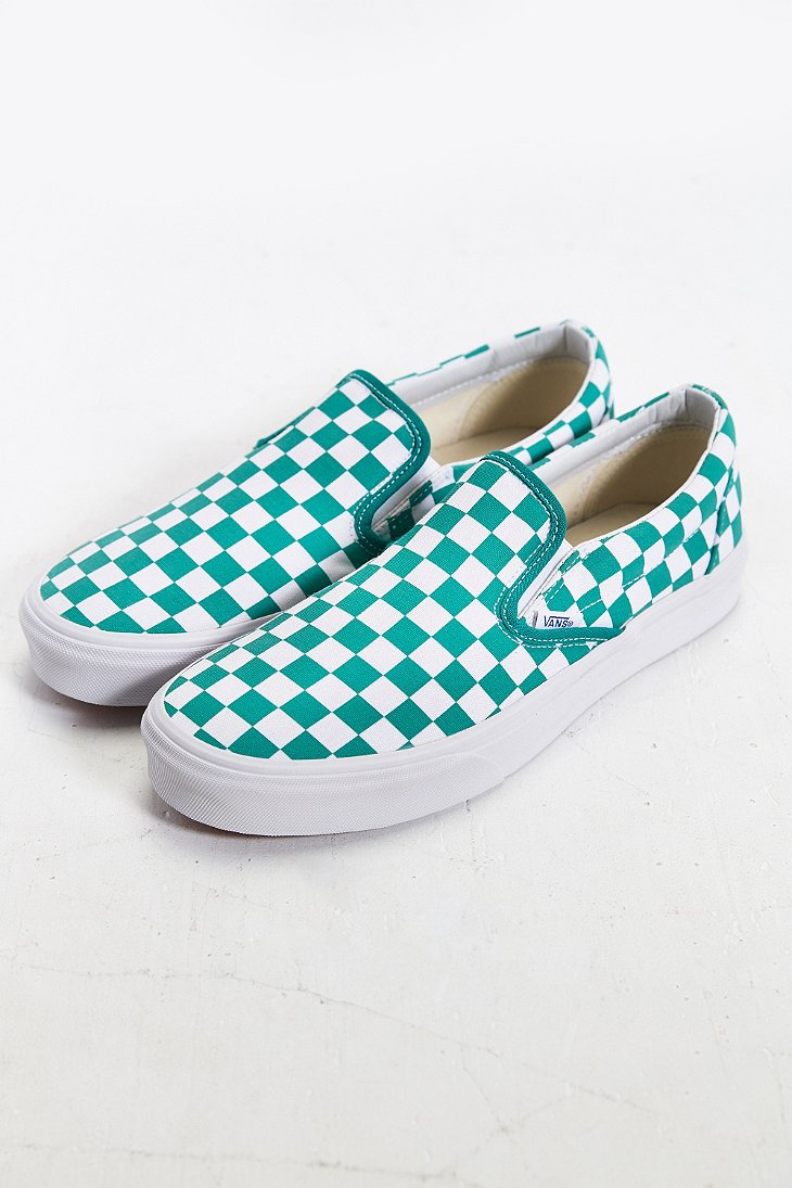 336ec416ff59d6 Lyst - Vans Classic Checkered Slip-on Sneaker in Blue for Men