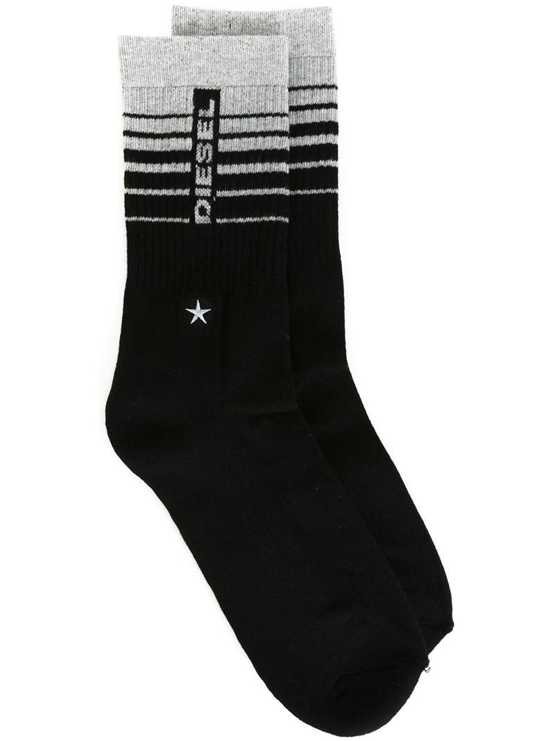 diesel logo socks with ribbed details in black for men lyst