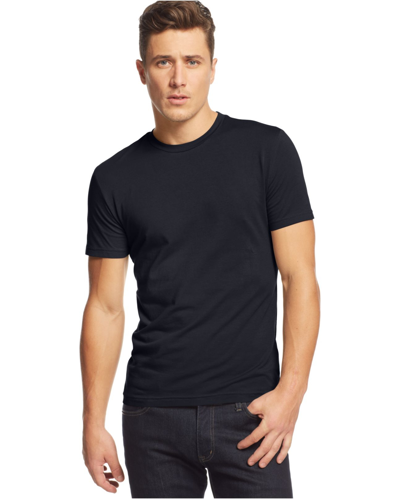 Alfani slim fit crewneck t shirt in black for men lyst for Men slim fit shirts