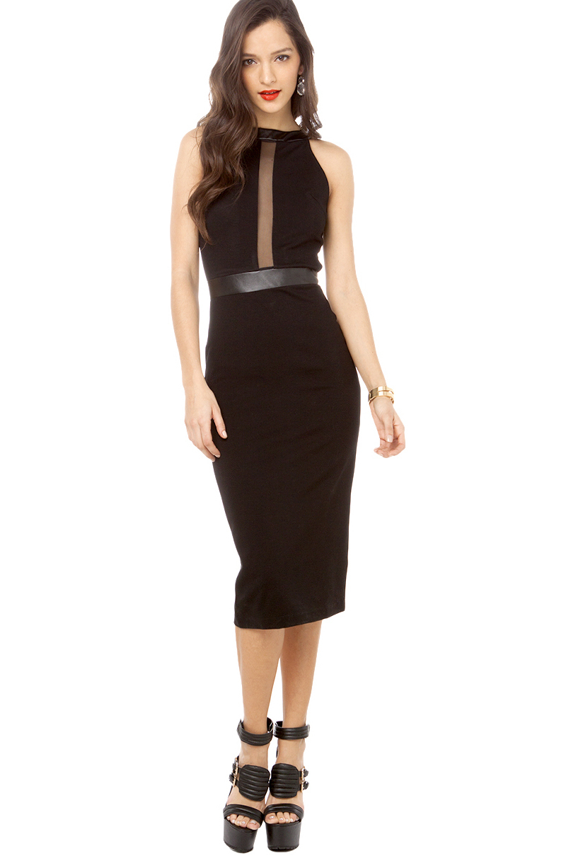 Lyst Akira Pleather Accent Mid Length Dress In Black In