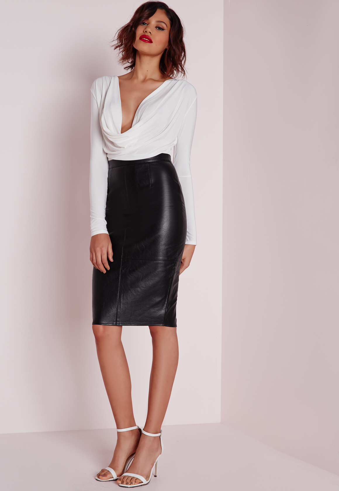 missguided faux leather seam detail midi skirt black in