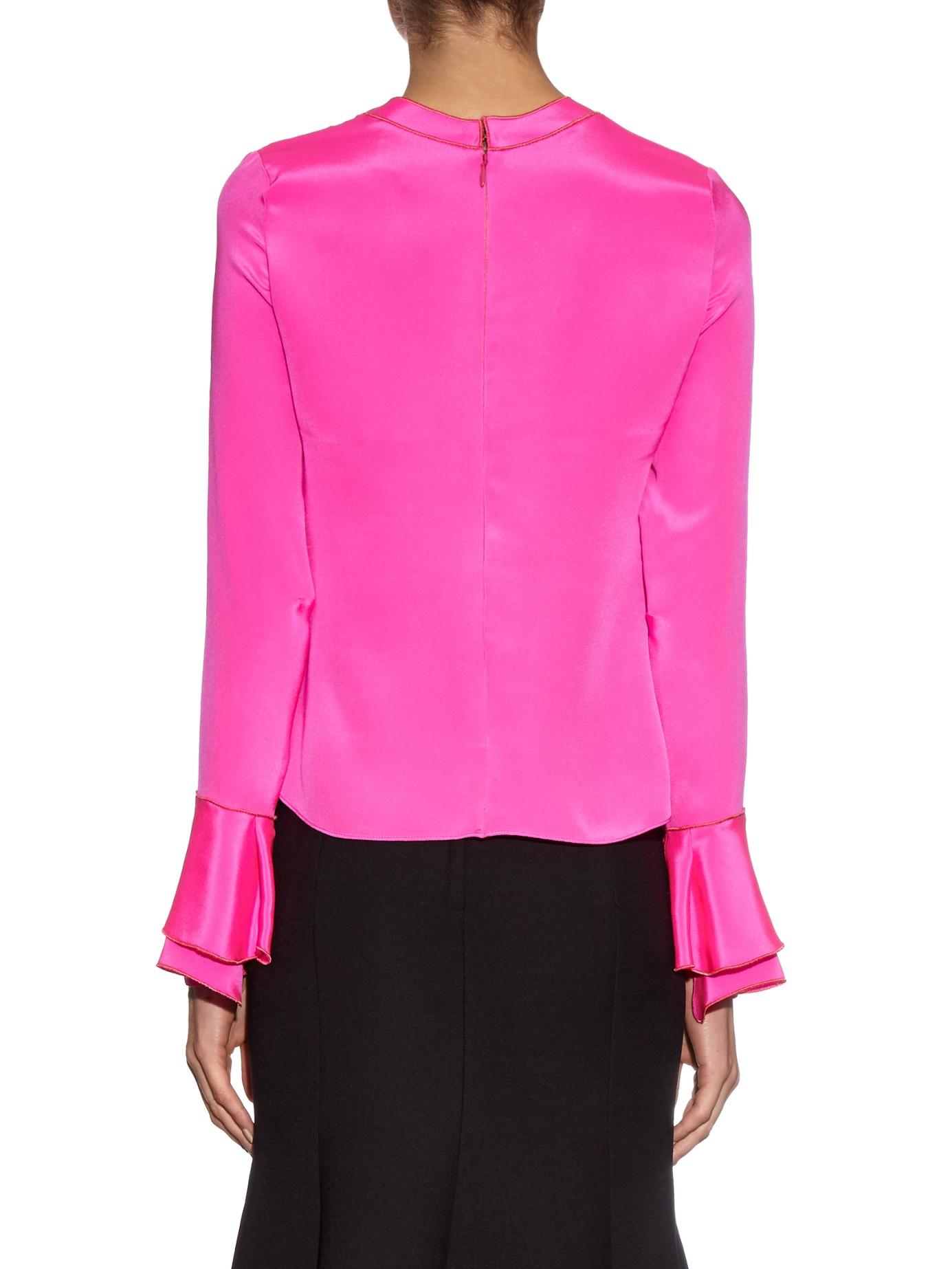 03f87104a1e7b Lyst - ROKSANDA Myseen Long-sleeved Silk Blouse in Pink