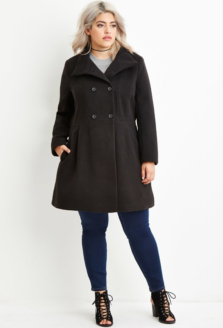 4c6547b77ea Forever 21 Plus Size Double-breasted Pea Coat in Black - Lyst