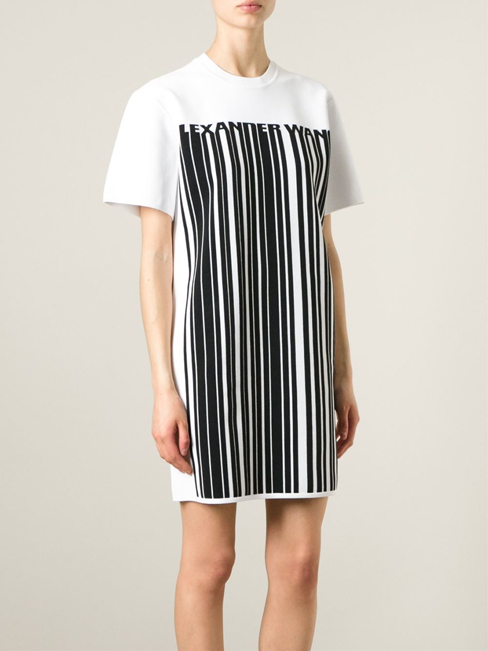 Alexander wang barcode logo t shirt dress in black white for Logo t shirt dress