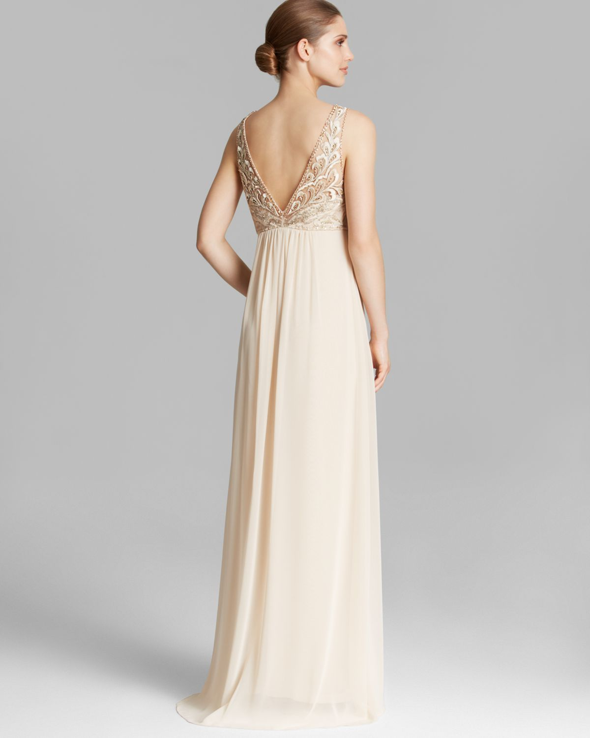 Lyst - Sue Wong Sleeveless Beaded Flyaway Gown in Natural