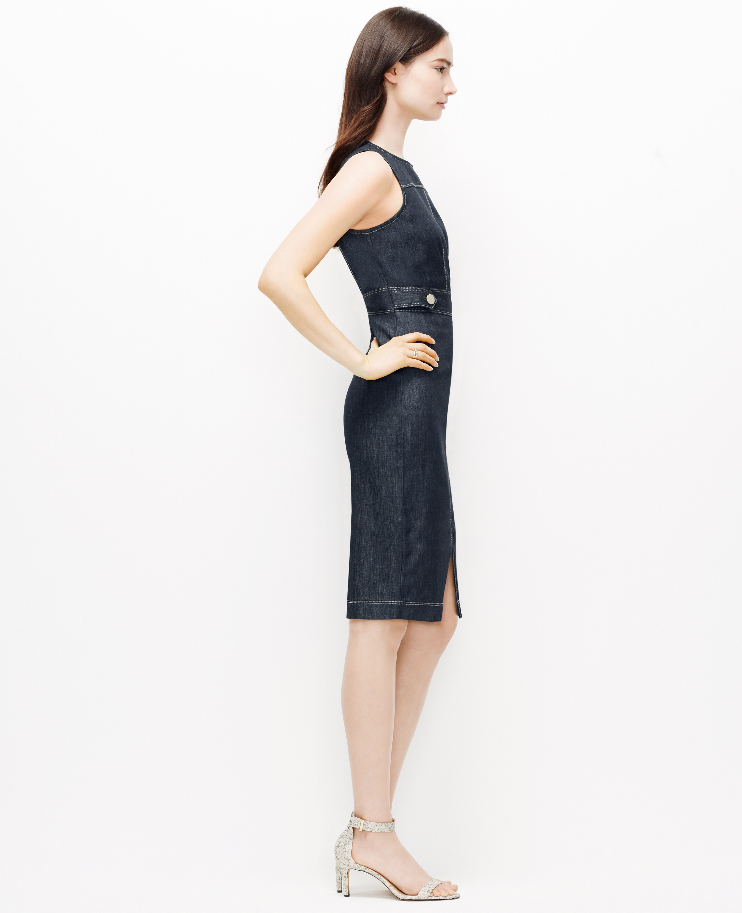 Ann taylor petite denim sheath dress