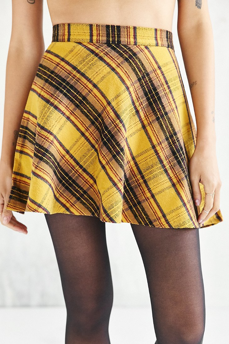 f416a294aa BDG Plaid Bias Cut Circle Skirt in Yellow - Lyst