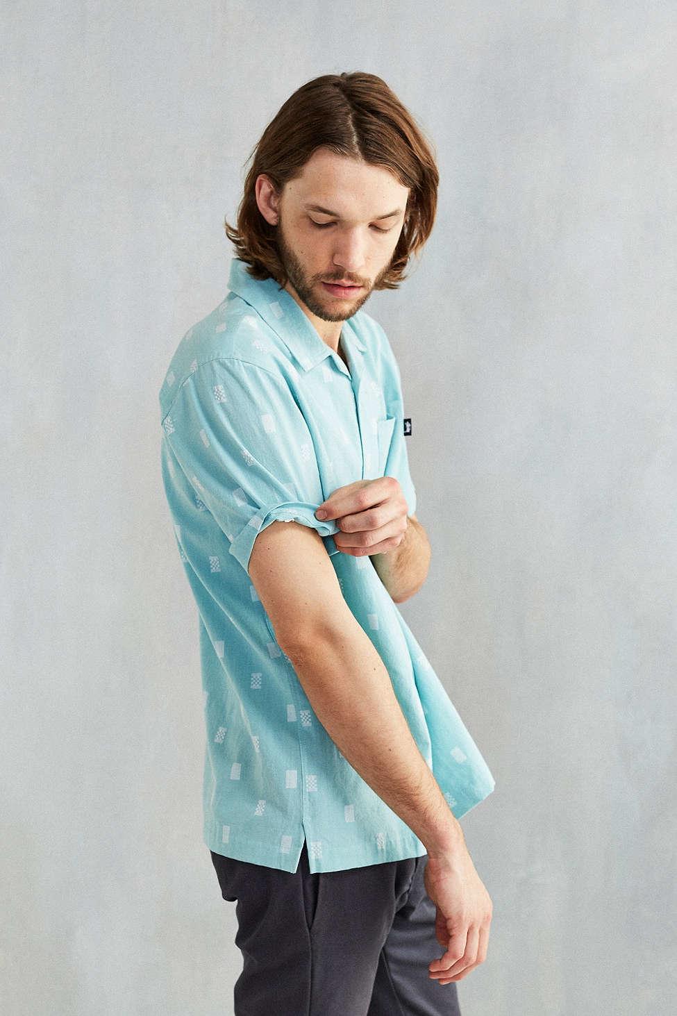 Stussy short sleeve camp shirt in blue for men lyst for Mens short sleeve camp shirts
